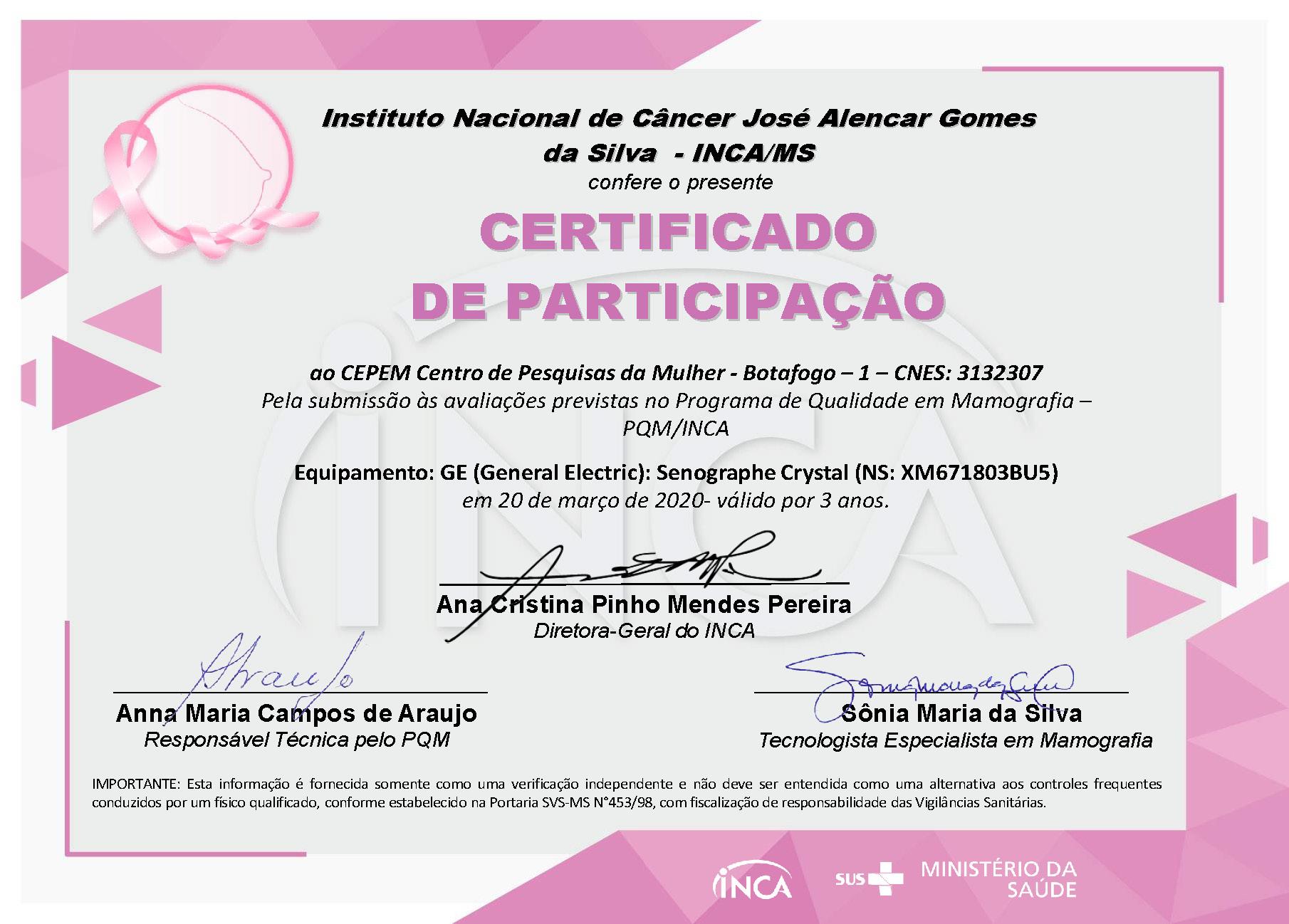 Certificado Botafogo PQM