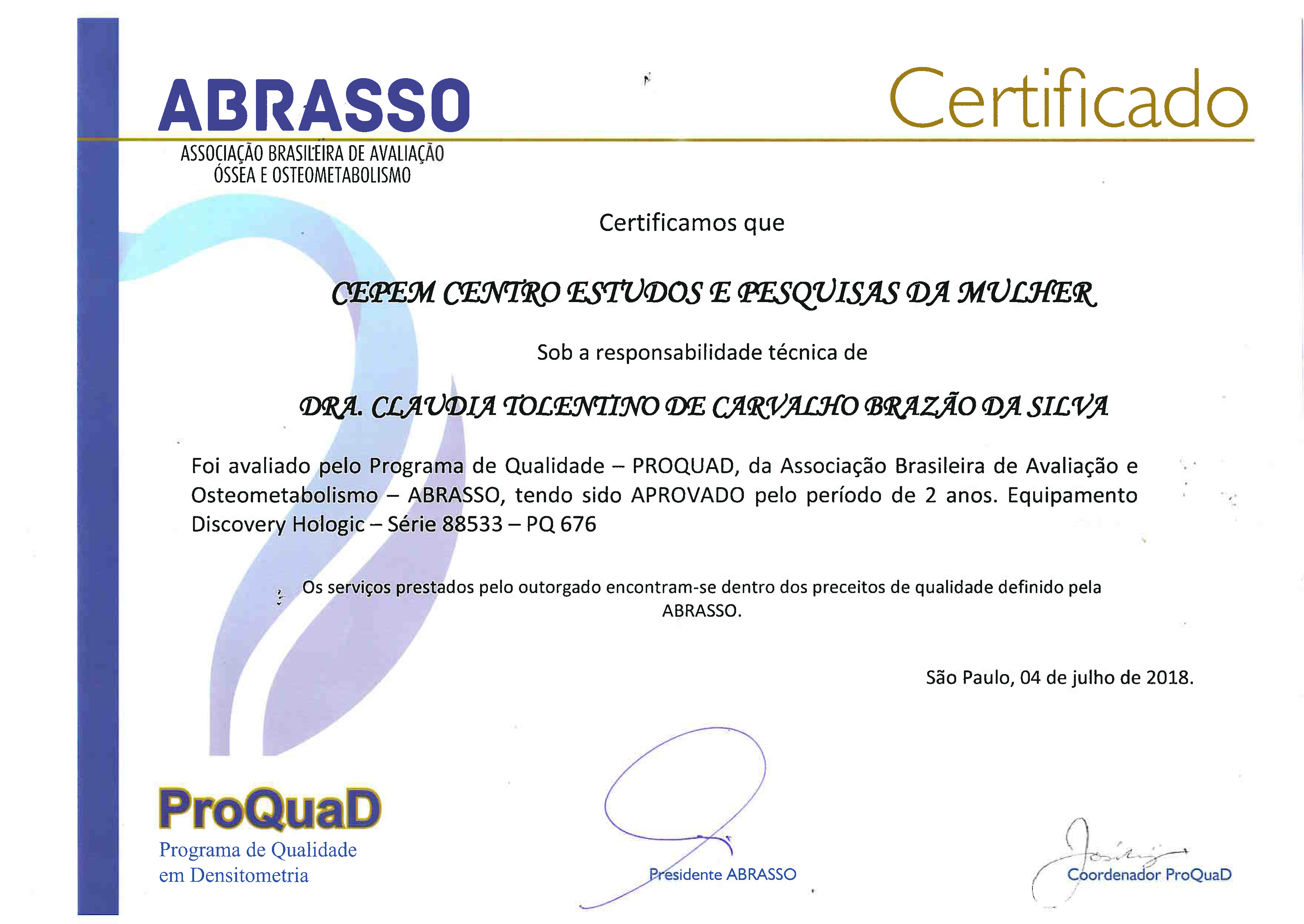 PROQUAD Certificado Hologic Discovery Validade 04 06 2020 (Barra)