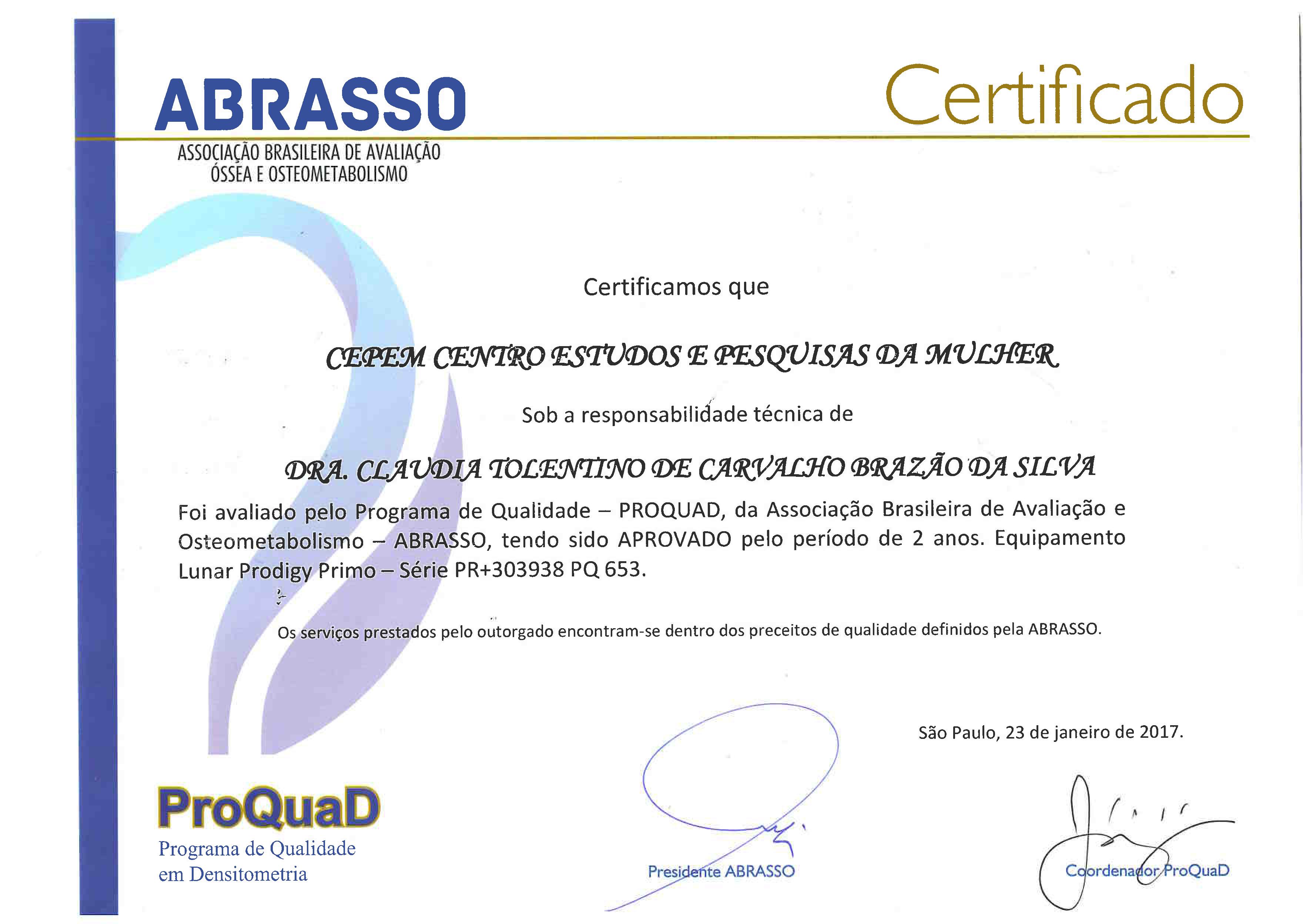 PROQUAD Certificado Lunar Prodigy Primo Validade 23 01 2019 (Barra)